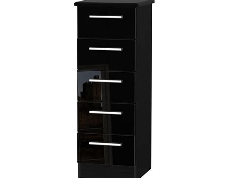 Narrow Black Chest Of Drawers by Black High Gloss 5 Drawer Narrow Chest