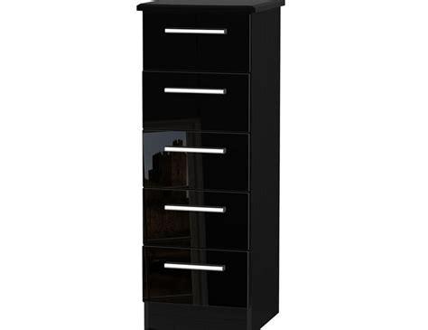 Black High Gloss Drawers by Black High Gloss 5 Drawer Narrow Chest