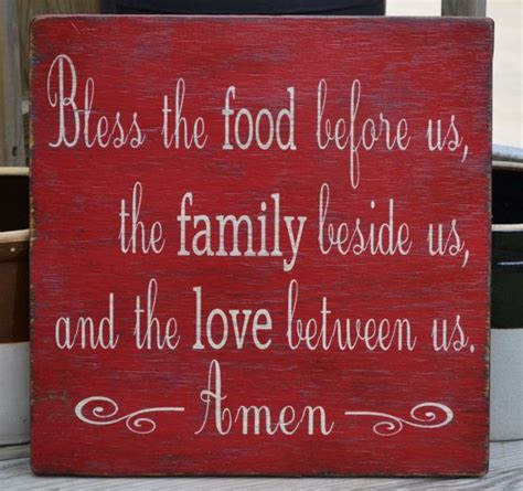 my food infatuation diy kitchen wall art bless the food before us sign kitchen decor red wood sign