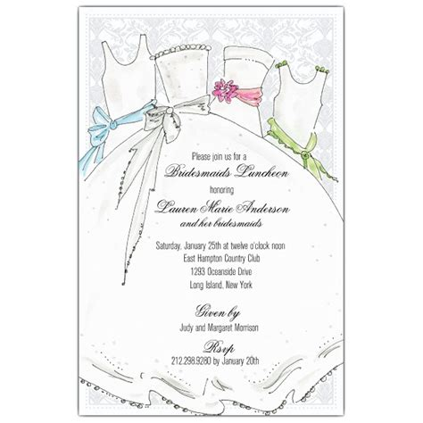 wedding lunch invitation sle sle invitations for bridesmaid luncheon style by