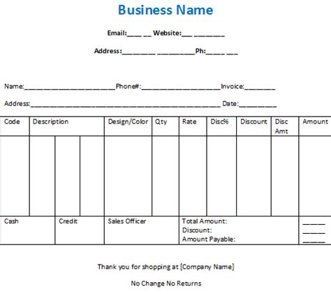 sle bill for clothing shop in excel and word free