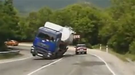 mercedes driver narrowly evades by tanker