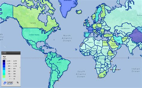 countries map world map of countries by age by country targetmap