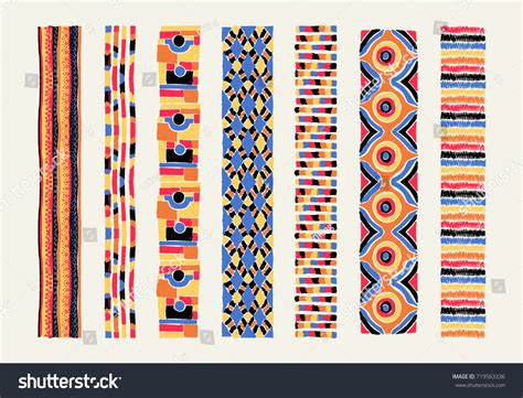 african pattern brush set ethnic art brushes african style stock vector