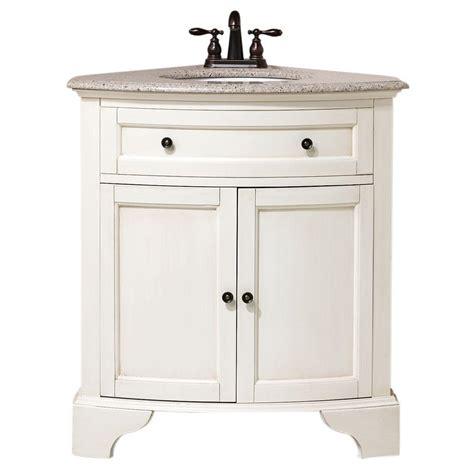 Home Decorators Collection Hamilton 31 in. W x 23 in. D Corner Vanity in White with Granite
