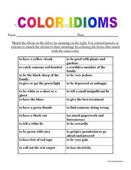 color idioms color idioms colors figurative language and language