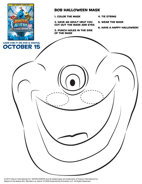 printable monster mask template dreamworks mega movie giveaway monsters aliens pumpkin