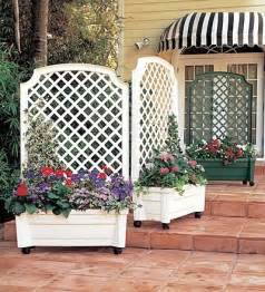 White Trellis Screen Self Watering Green White Planter Trellis Traditional