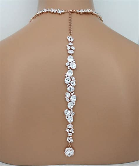braut kette rose gold backdrop necklace bridal back drop necklace