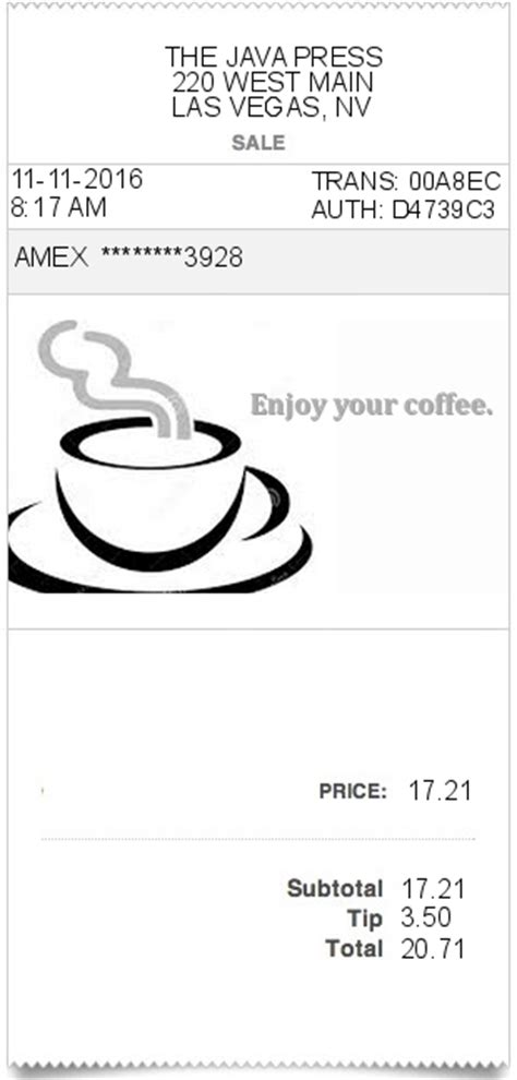 Coffee Shop Receipt Template coffee receipt expressexpense custom receipt maker