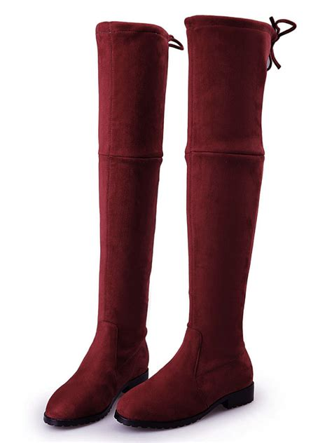 burgundy suedette pointed laced back the knee flat