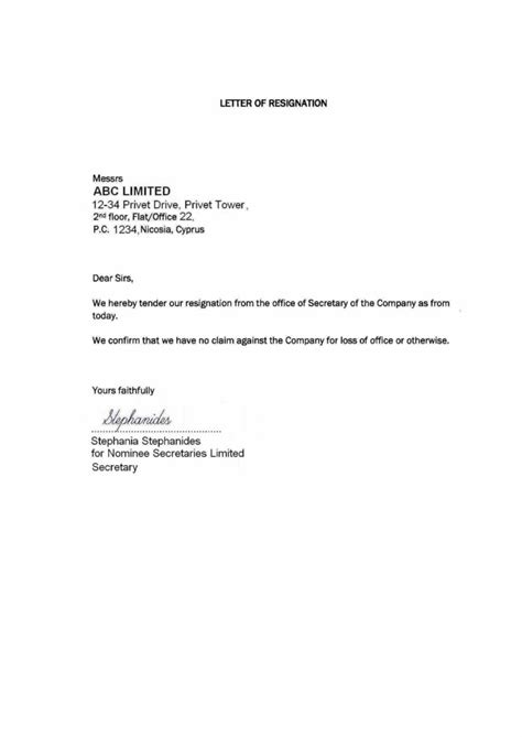 Clinton Resignation Letter by Format Of Resignation Letter Of Company Resume Layout 2017