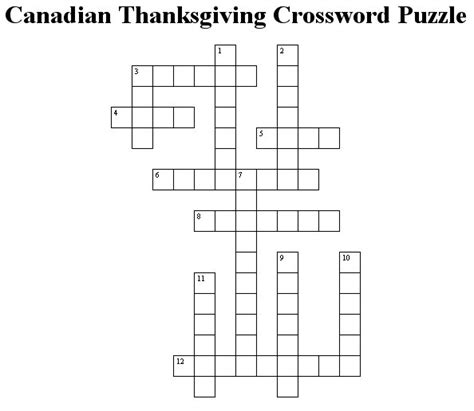 printable puzzle of canada canadian thanksgiving crossword puzzle