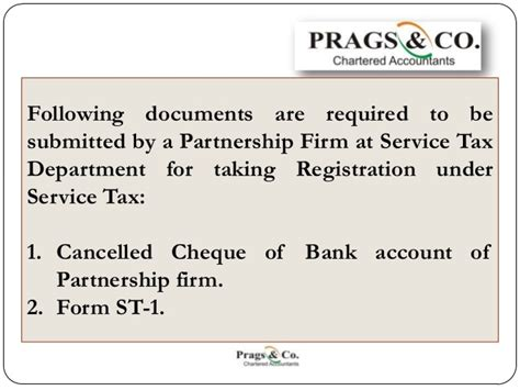 Service Tax Letter service tax registration documents required by partnership firm