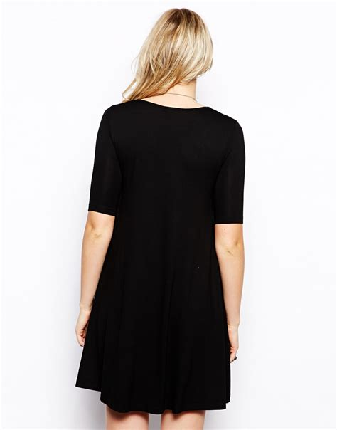 swing dress with pockets asos swing dress with pockets in black lyst
