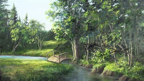 Landscape Creek Bridge The Creek Landscape Painting