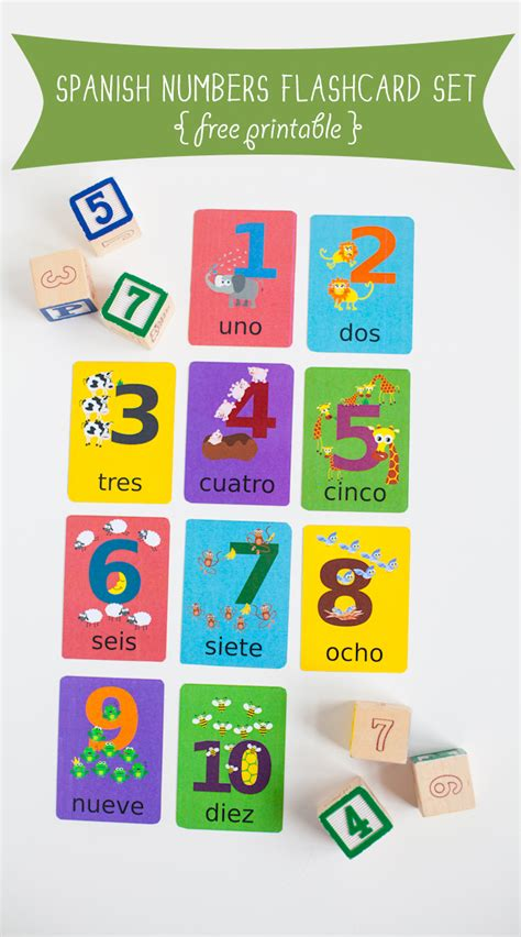 printable spanish numbers 1 10 spanish numbers flash cards printable