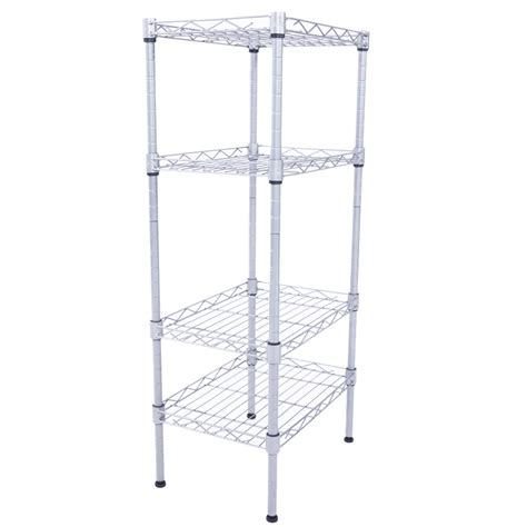 32 Quot 4 Tier Shelves Wire Shelving Rack Shelf Adjustable Storage Mesh Border Ebay Wire Shelving Installation Template