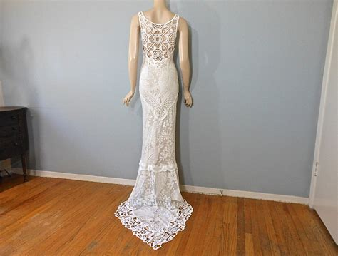 Handmade Dress - handmade hippie wedding dress crochet boho wedding dress lace