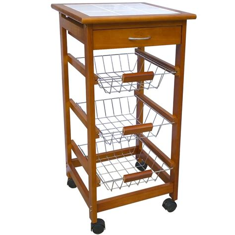 White Kitchen Island Cart by 3 4 Tier Kitchen Trolley Brown Cart Basket Storage Drawer