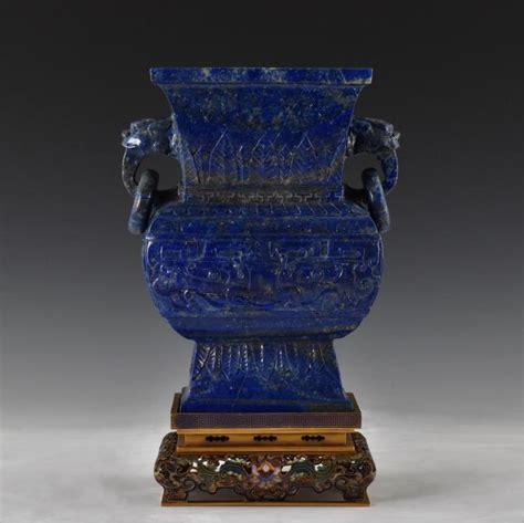 Lapis Lazuli Vase by Lapis Lazuli Gu Vase On Gilt Bronze Stand