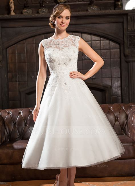 Brautkleider Wadenlang by A Line Princess Scoop Neck Tea Length Tulle Lace Wedding