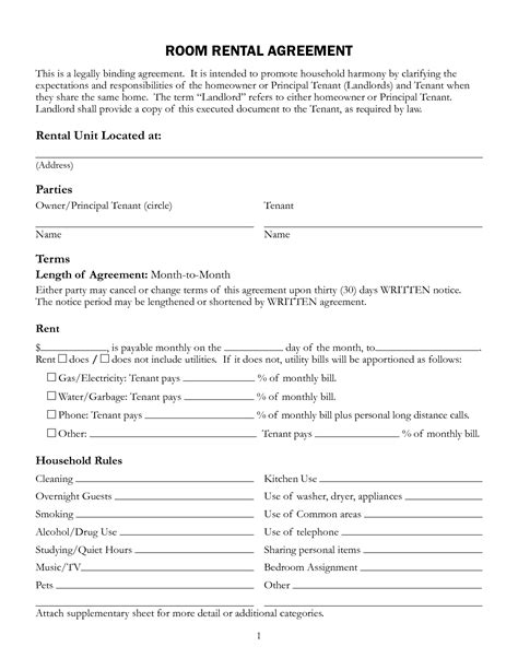 room lease agreement template free printable rental lease agreement form template
