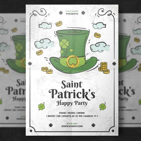 st patricks day brochure template with hat and cauldron vector