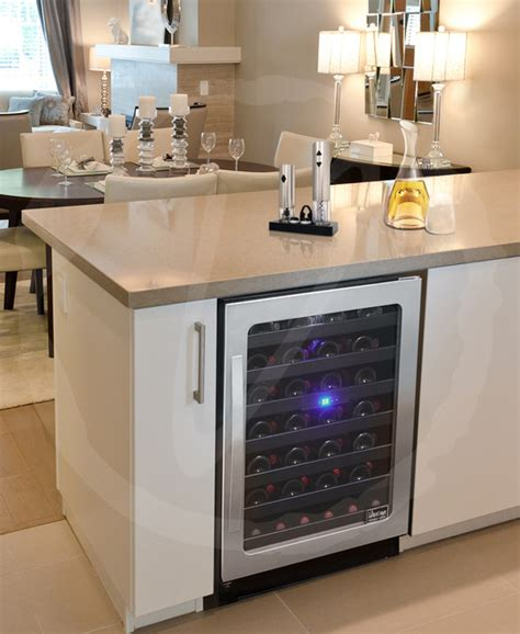kitchen with wine cooler by vinotemp
