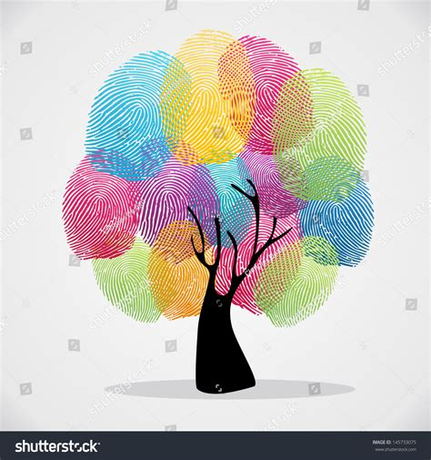 finger color diversity color tree finger prints illustration stock