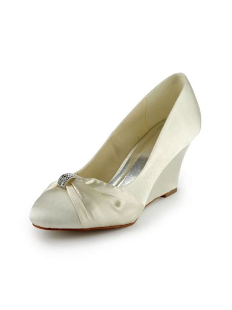 Ivory Wedding Shoes Wedge Heel by S Satin Wedge Heel Wedges With Rhinestone Ivory