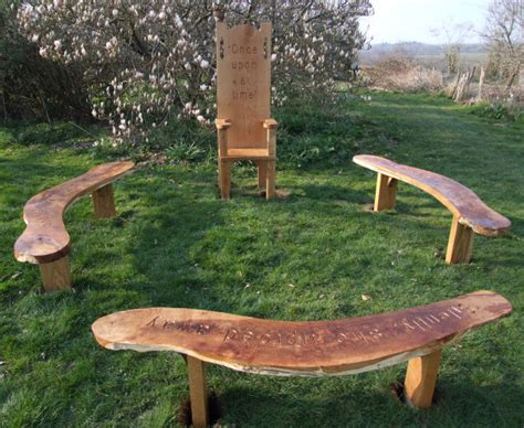 school benches outdoor childrens school playground garden oak story telling bench