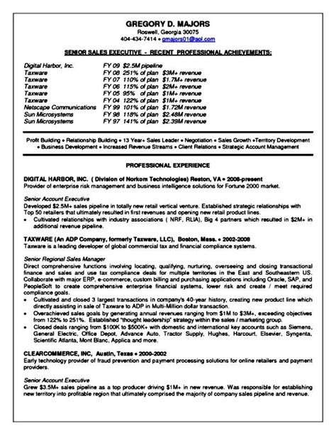 senior sales executive resume sles free sles
