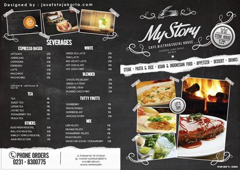 desain daftar menu makanan corel desain daftar menu cafe my story cafe jasa fotografi