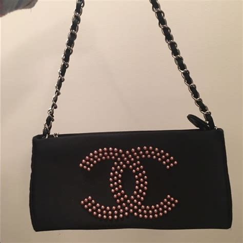 Chanel Kate Bosworth And Chanel Clutch Evening Bag by 47 Chanel Handbags Vintage Pearl Black Satin Chanel