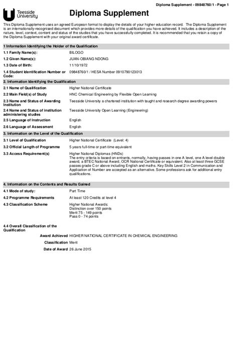 supplement meaning teesside diploma supplement 2010 2015