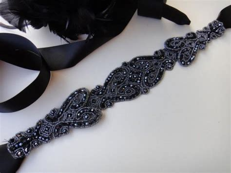 black beaded sash belt black bridal belt black wedding sash black bridal sash