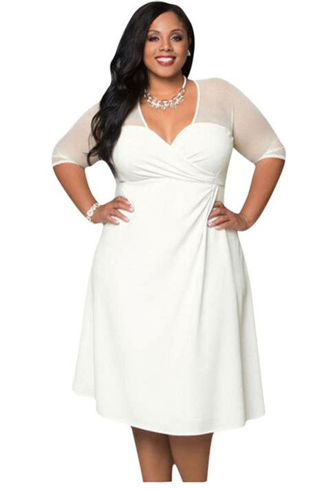 Dress Large Size Wh0153 womens v neck half sleeve plus size dress white pink