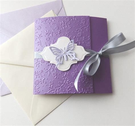 Handmade Invitations - butterfly handmade wedding invitation purple lavender