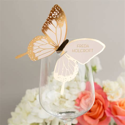 butterfly place cards for wine glasses template metallic foiled butterfly wine glass place cards by eagle
