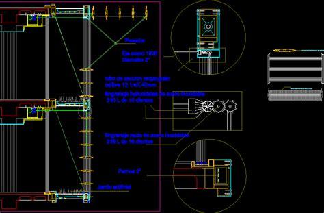 adjustable sun shades mechanism dwg detail  autocad