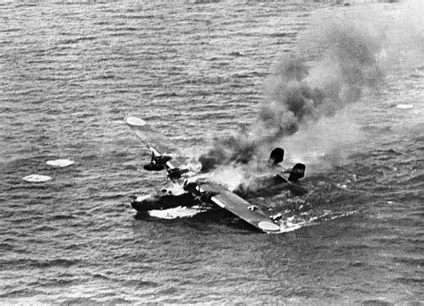 japanese flying boat ww2 wwii emily h6k flying boat burning in the water