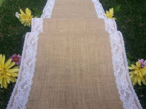 Wide Wedding Aisle Runner by 40inches Wide Burlap Aisle Runner With Lace