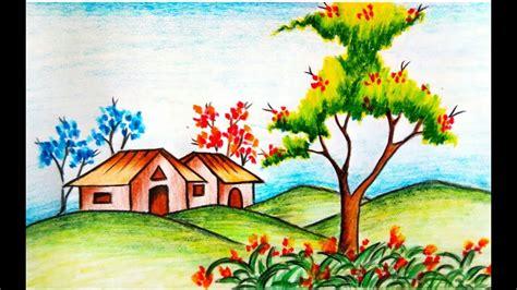 learn   draw flower garden scenery drawing step