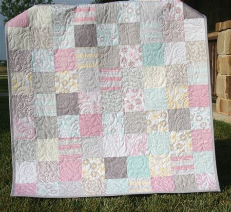 shabby chic baby girl quilt cottage style pastel light pink aqua grey white gray child youth
