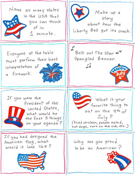 free printable patriotic postcards 4th of july conversation starter and joke cards free