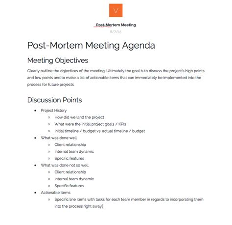 Hosting Post Mortem Meetings 101 Verbal Plus Visual Medium Project Post Mortem Template