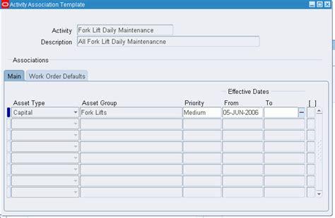 activity templates oracle enterprise asset management user s guide