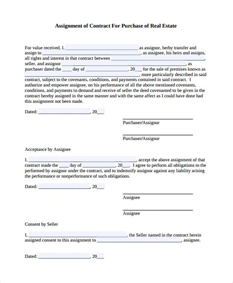 Assignment Contract Template 7 Assignment Of Contract Templates Sle Templates