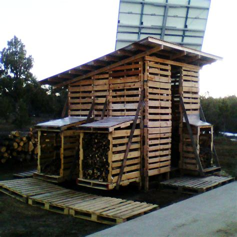 pallet shed  storing firewood  family handyman